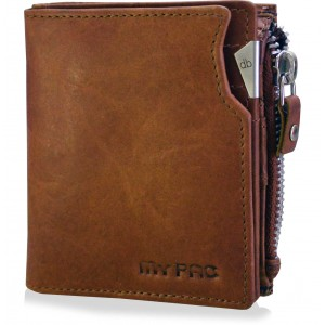 mypac cruise Tan brown Genuine Leather wallet with zipper for men  C11572-21
