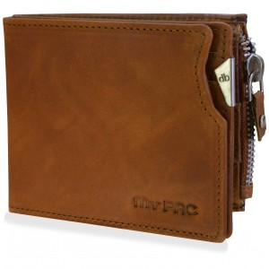 mypac cruise Tan brown Genuine Leather wallet with zip for men  C11573-21
