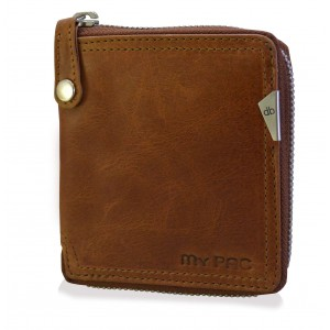 mypac-Safari Genuine Leather zip around wallet-Best gift for men- Tan Brown  C11577-21