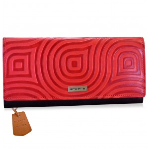 arpera abstract Genuine Leather wallet    |  red |C11527-3