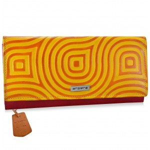 arpera abstract Genuine Leather wallet|yellow |C11527-92