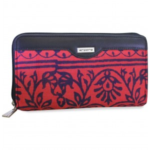 arpera rangoli cotton  printed clutch red C11545-3