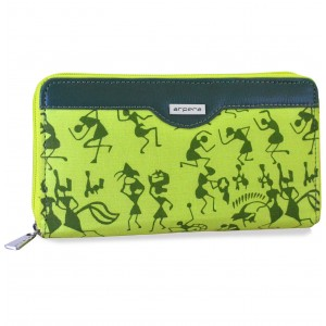 arpera rangoli cotton warli print clutch green C11545-6