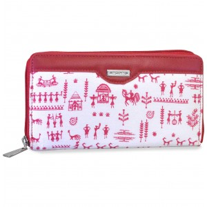 arpera rangoli cotton  printed clutch white and red C11545-91