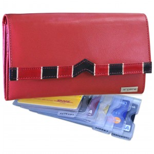 arpera Symphony Leather clutch purse with card organiser Red C11548-3