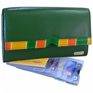 arpera Symphony Leather clutch purse with card organiser Green C11548-6