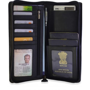 arpera leather passport holder for 2 passports,check book holder Black C11567-1
