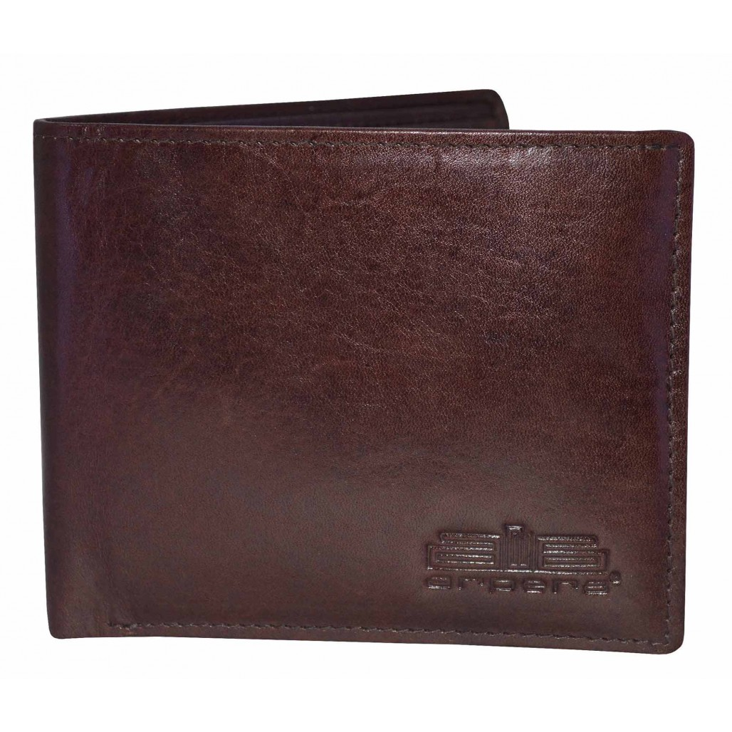 Arpera Brown Genuine Leather Mens Wallet With Hidden