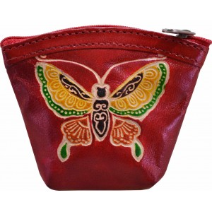 arpera butterfly printed red coin pouch C11405-3B