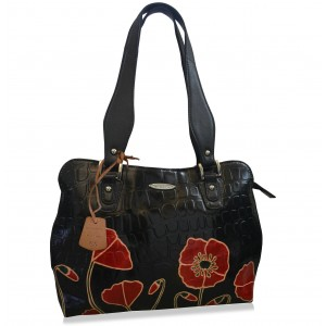 arpera Floral Genuine Leather Handbag Black C11334-1B