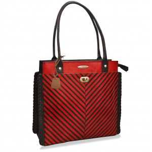 arpera stripes red leather handbag C11340-3A