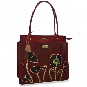 arpera hibiscus bordo leather handbag C11340-4B