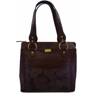 arpera paisly printed brown terracota leather hand bag C11414-2