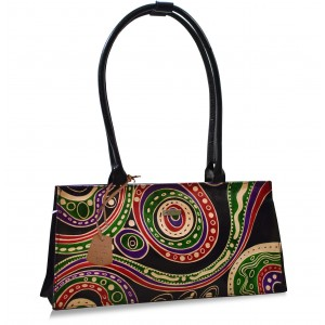 arpera Aztec Black Terracotta Leather  handbag C11447-1B