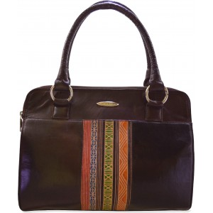 Aztec printed black & brown terracota leather hand bag C11448-2