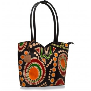 arpera Aztec Black Terracotta Leather Handbag C11478-1A