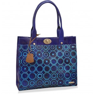 arpera Geometric Genuine Leather Office Bag  Blue C11524-5A