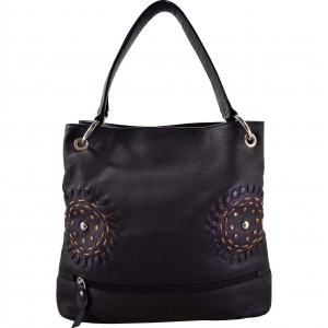 arpera kantha Genuine Leather Hobo |black|lb026a-bk-kantha circles