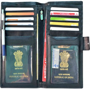 arpera genuine leather passport holder for 2 passports Black C11568-1