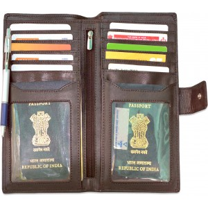 arpera genuine leather passport holder for 2 passports Brown C11568-2