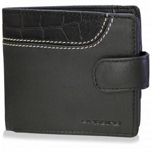 arpera croc print black leather mens wallet C11576-1