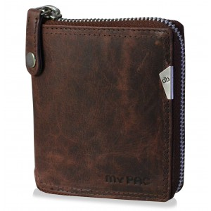 mypac-Safari Genuine Leather zip around wallet-Best gift for men-Brown  C11577-2