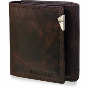 mypac-cruise Genuine Leather trifold wallet -Sporty gift for all occasions-brown  C11581-2