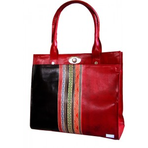 arpera | Leather Handbag | C11159 | Red Black