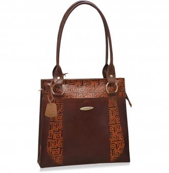 arpera Geometric Genuine Leather handbag   Brown C11520-2A