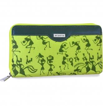 arpera rangoli cotton warli print clutch green C11545-6