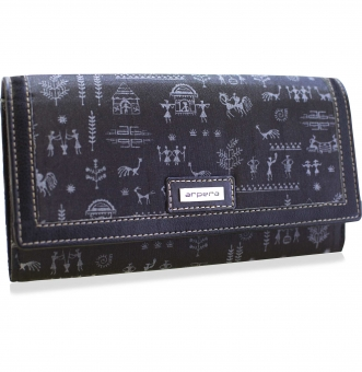 arpera rangoli cotton warli print clutch black C11541-1A