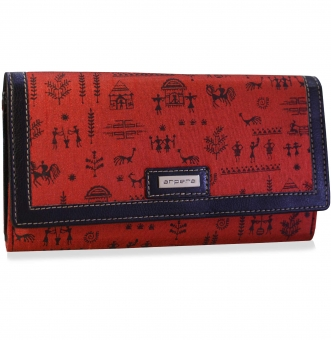 arpera rangoli cotton warli print clutch red C11541-3A