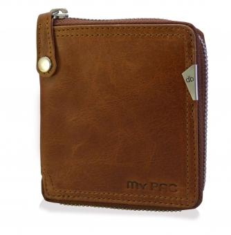 mypac-Safari Genuine Leather zip around wallet-Best gift for men- Tan Brown  C11577-21