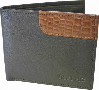 my pac db Vogue Rfid protected genuine leather  wallet Black -Tan C11597-121U