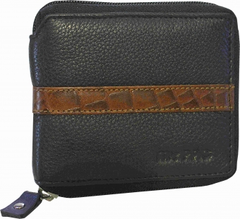 my pac db Vogue Rfid protected genuine leather  zip around wallet Black -Tan C11598-121S