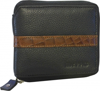 my pac db Vogue Rfid protected genuine leather  zip around wallet Black -Tan C11598-121S