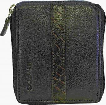 my pac db Vogue Rfid protected genuine leather  zip around wallet Black -Brown C11598-12S